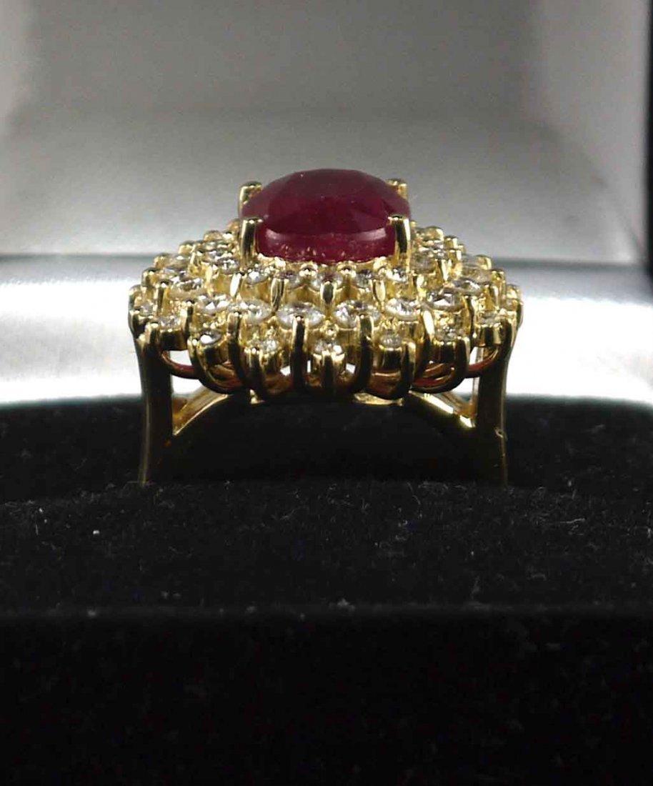 14kt Yellow Gold 6.49ct Ruby 1.64ctw Diamond Ring