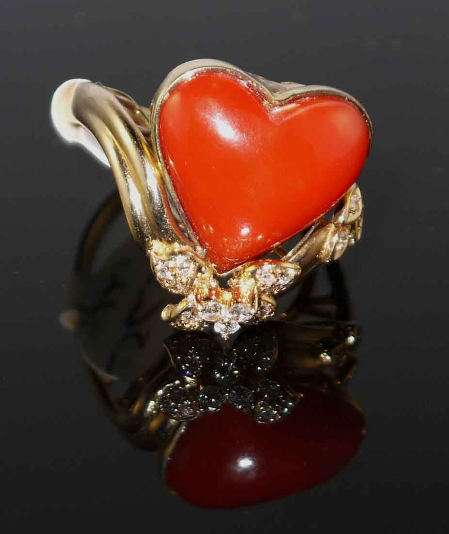 8.45ct Coral 0.31ct Diamond 14kt Yellow Gold Ring W2201