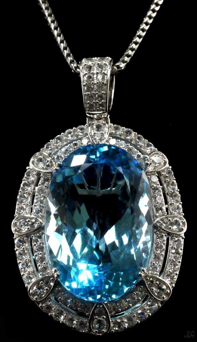 94.92ct Topaz 6.32ctw Sapphire Silver Pendant K11J51