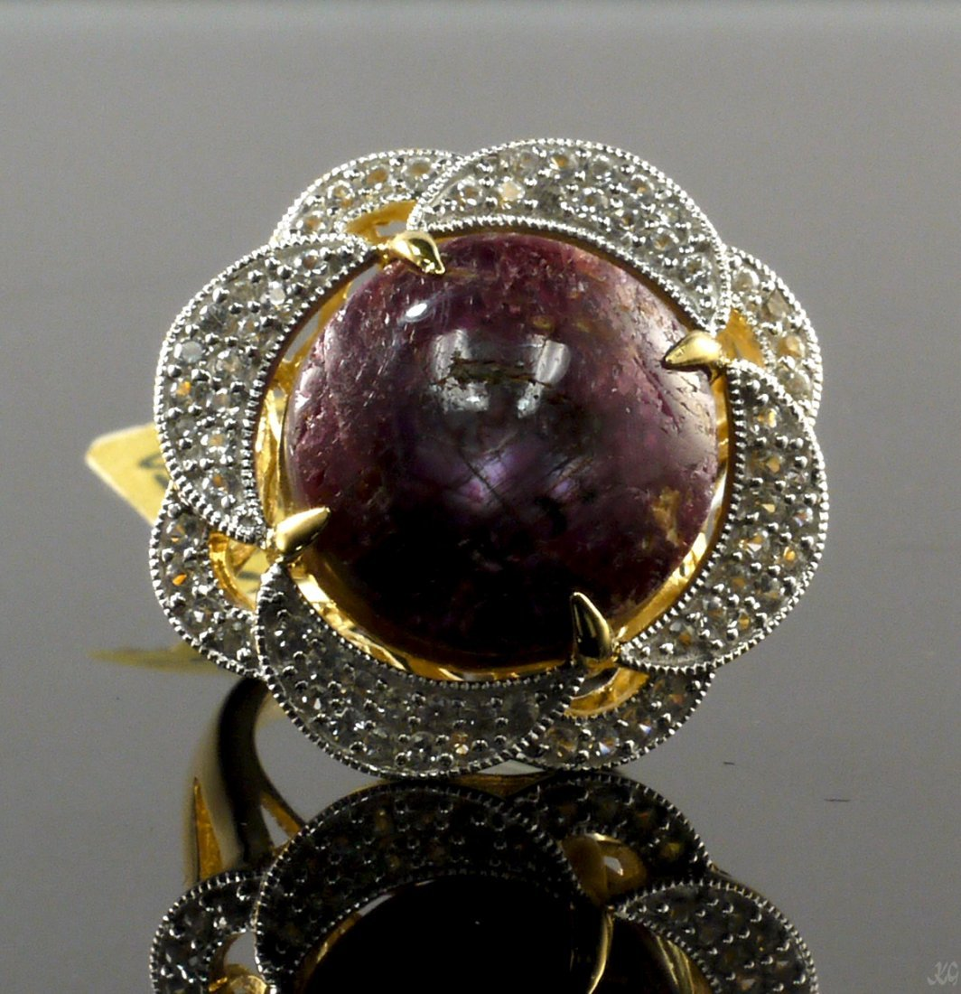 27.44ct Ruby 0.83ctw Sapphire Silver Ring K28J2