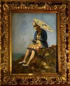 Emile Delobre Woman with Umbrella FramedW4505