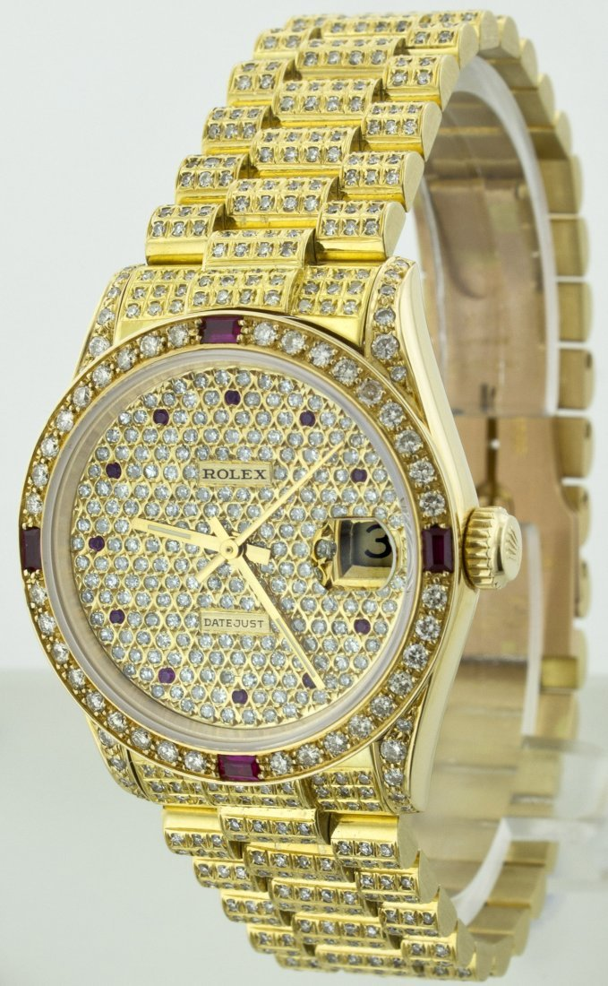 ROLEX MID-SIZE YG DATEJUST FULL PAVE WATCH WITH RUBY WA