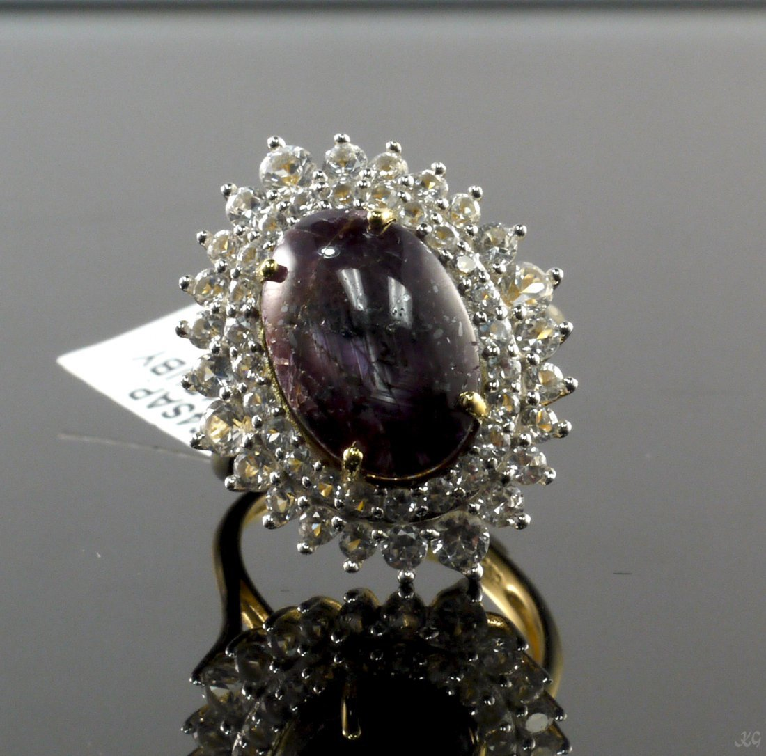 14.51ct Ruby 2.64ctw Sapphire Silver Ring K21J9