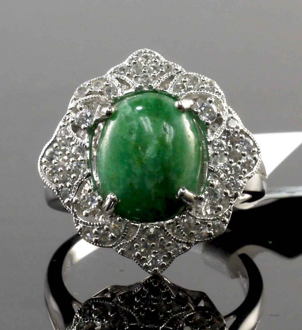 5.87ct Emerald 0.80ctw Sapphire Silver Ring K15J5