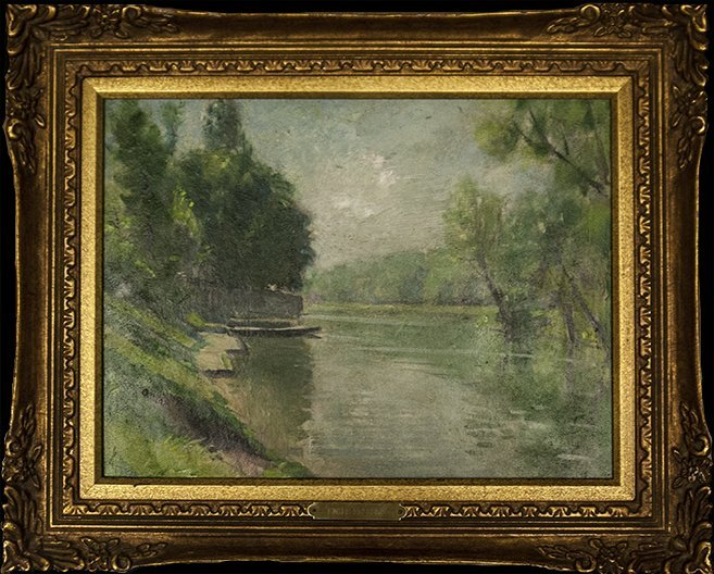 """Emile Delobre """"Lakeview with Boat"""" (FRAMED) WB4100"""