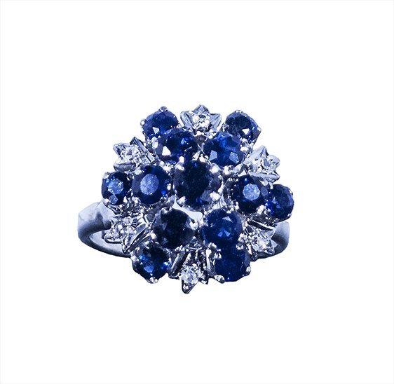18kt WG 3.48ctw Sapphire 0.08ctw Diamond RN W1512
