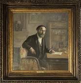 Emile Delobre Self Portrait in Study 1935 FRAMED