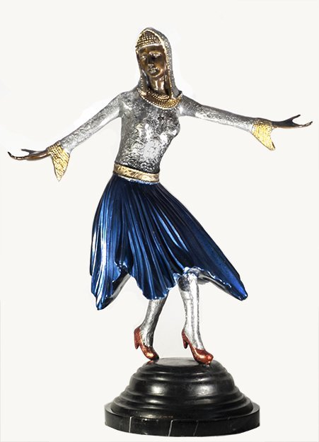 Bronze Lady in Blue Skirt W331