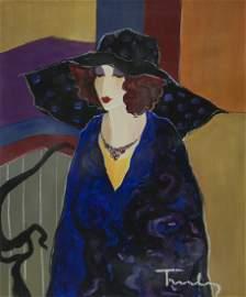 """Itzchak Tarkay """"Dots On Her Hat"""" (Unframed) W8251"""