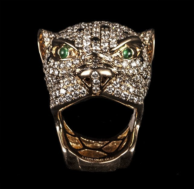 """18kt RG Emerald 6.76ctw Dia """"Panther"""" RN W14293"""