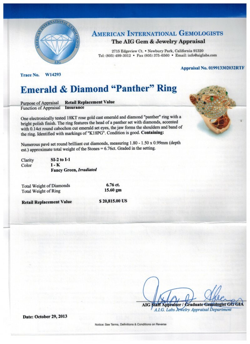 """18kt RG Emerald 6.76ctw Dia """"Panther"""" RN W14293 - 2"""
