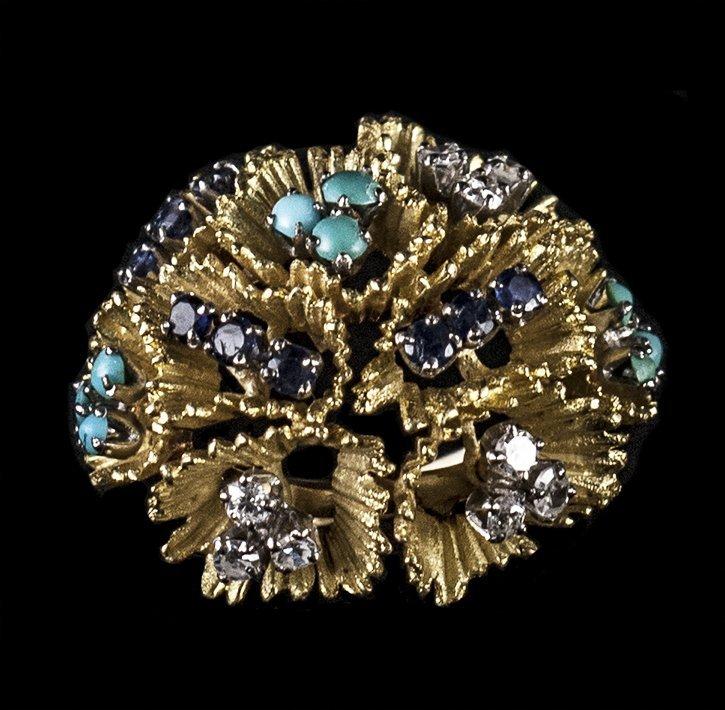 18kt YG & WG Turquoise, Sapphire & Dia RN W4131