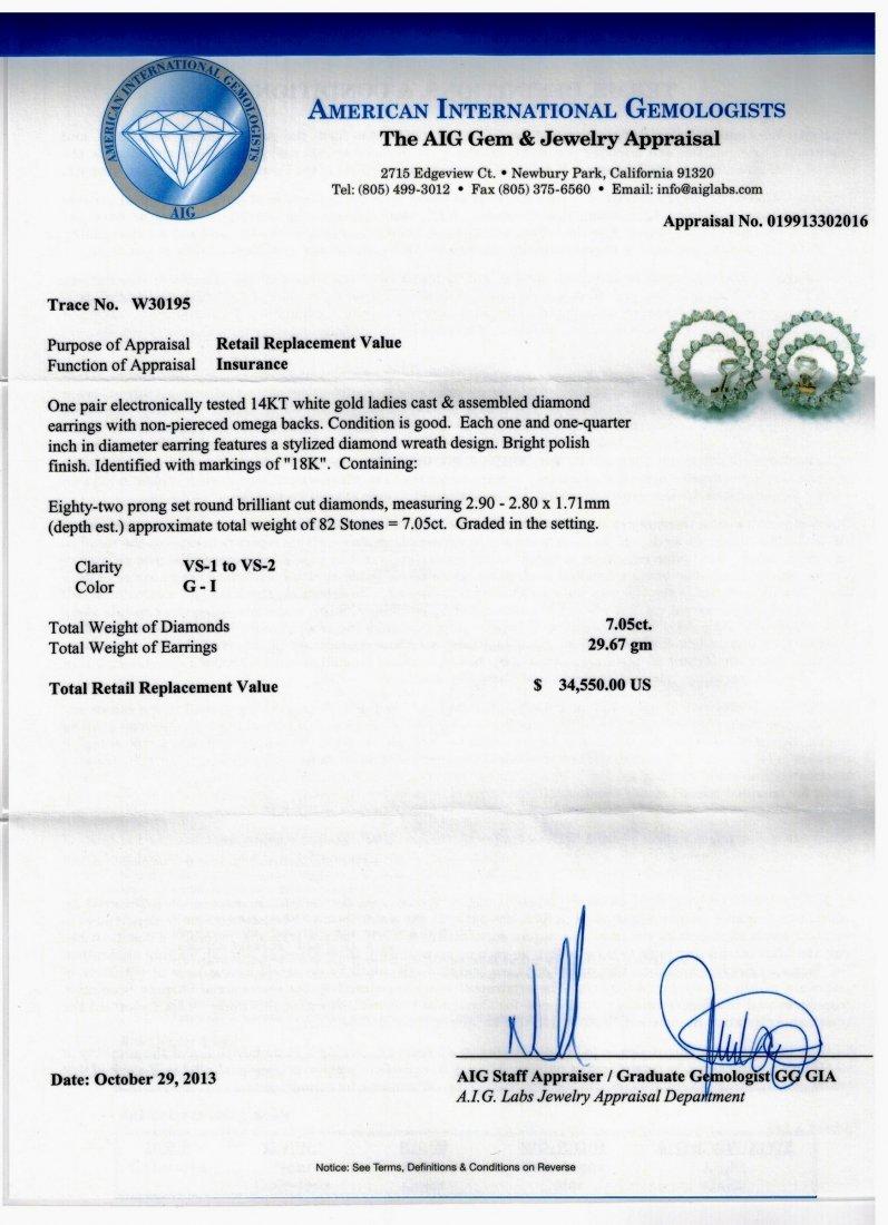 14kt WG 7.05ctw Diamond Earrings W30195 - 2