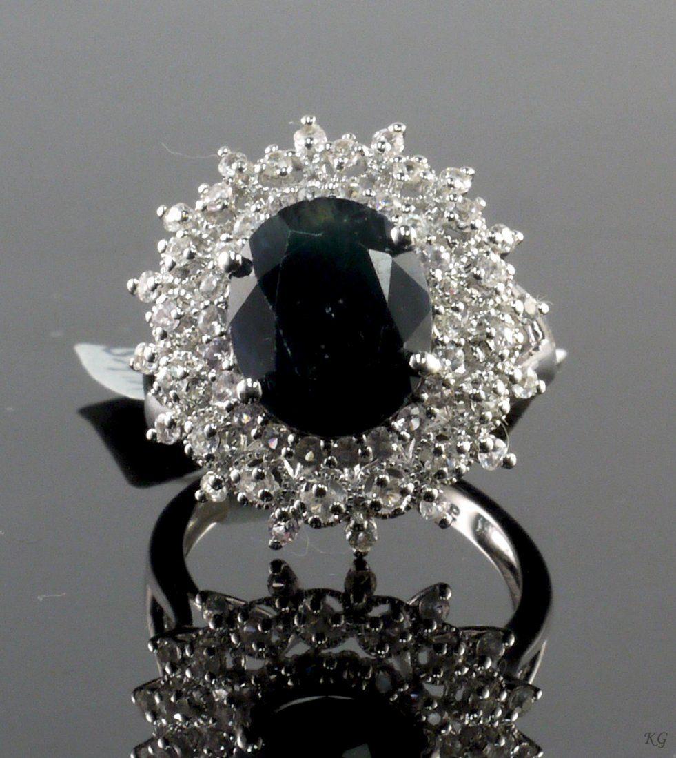 6.65ctw Blue & White Sapphire 925 Silver Ring K23J8