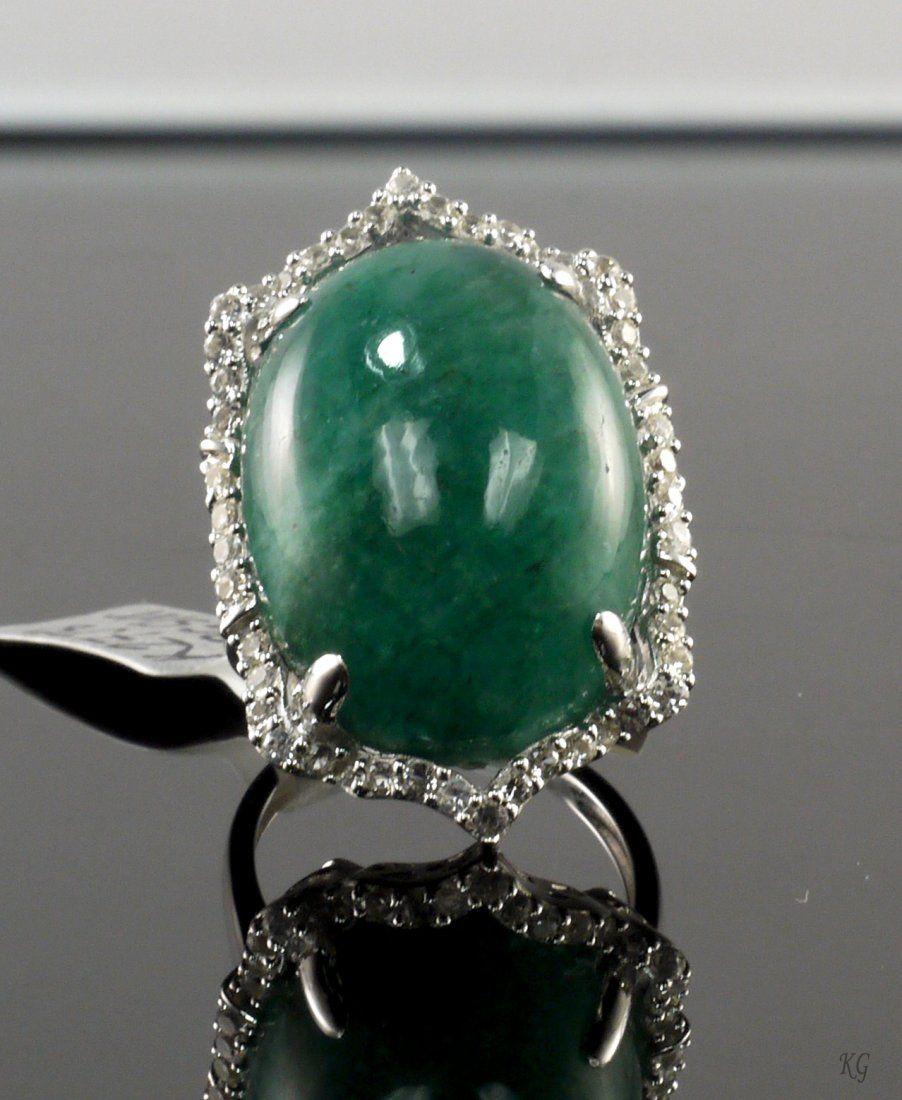29.18ct Beryl 1.02ctw Sapphire 925 Silver Ring K27J8