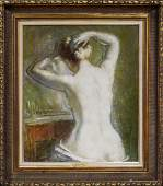 Emile Delobre Seated Nude Doing Hair W9007