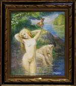 Emile Delobre Two Nudes and a Satyr W10702