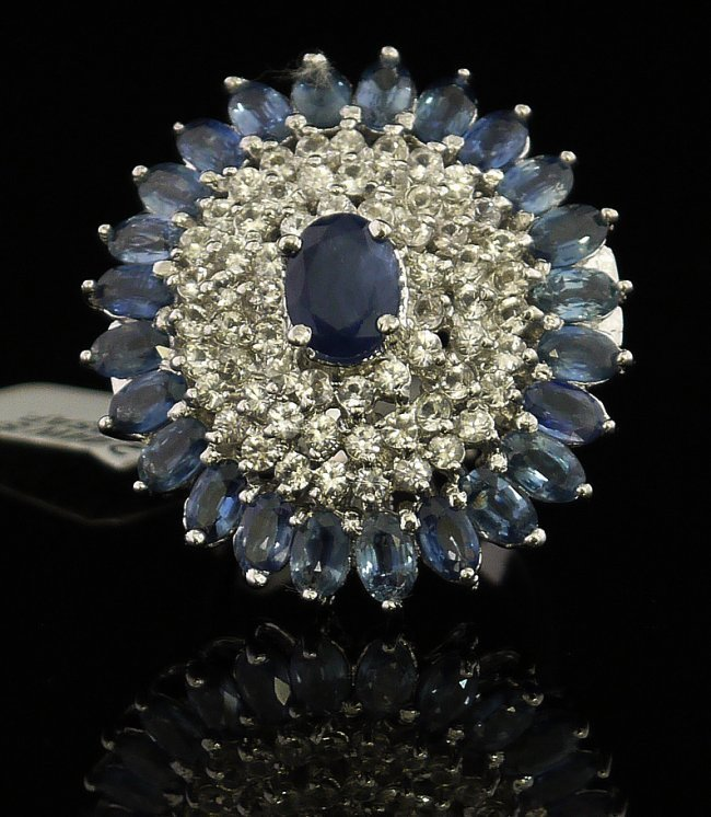 10.24ctw Sapphire Silver Ring K96J5