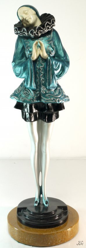 """After Chiparus Bronze and Ivory on Onyx """"Ferete"""" W2252"""