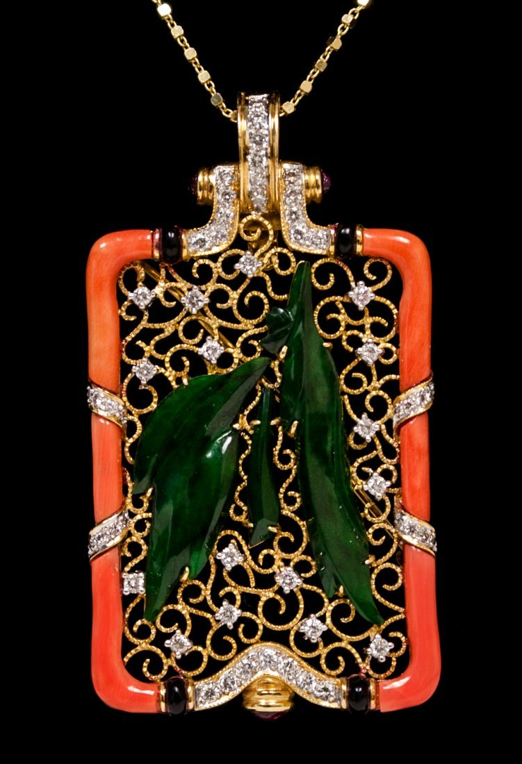 18kt Yellow Gold Coral & Jade Brooch W11196