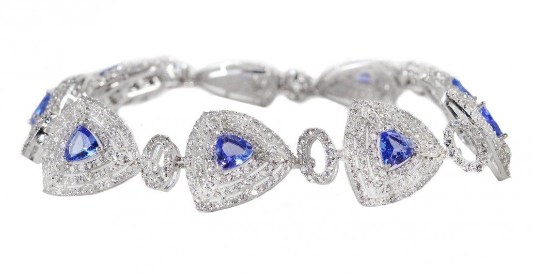 3.33ctw Tanzanite&Topaz Silver Bracelet K18J38