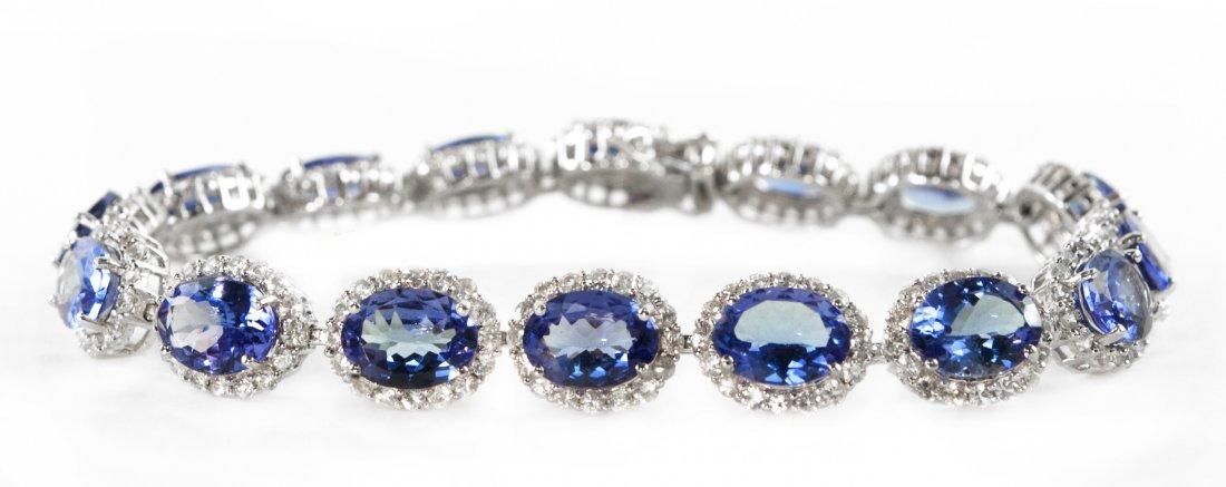 13.58ctw Tanzanite&Sapphire Silver Bracelet K19J43