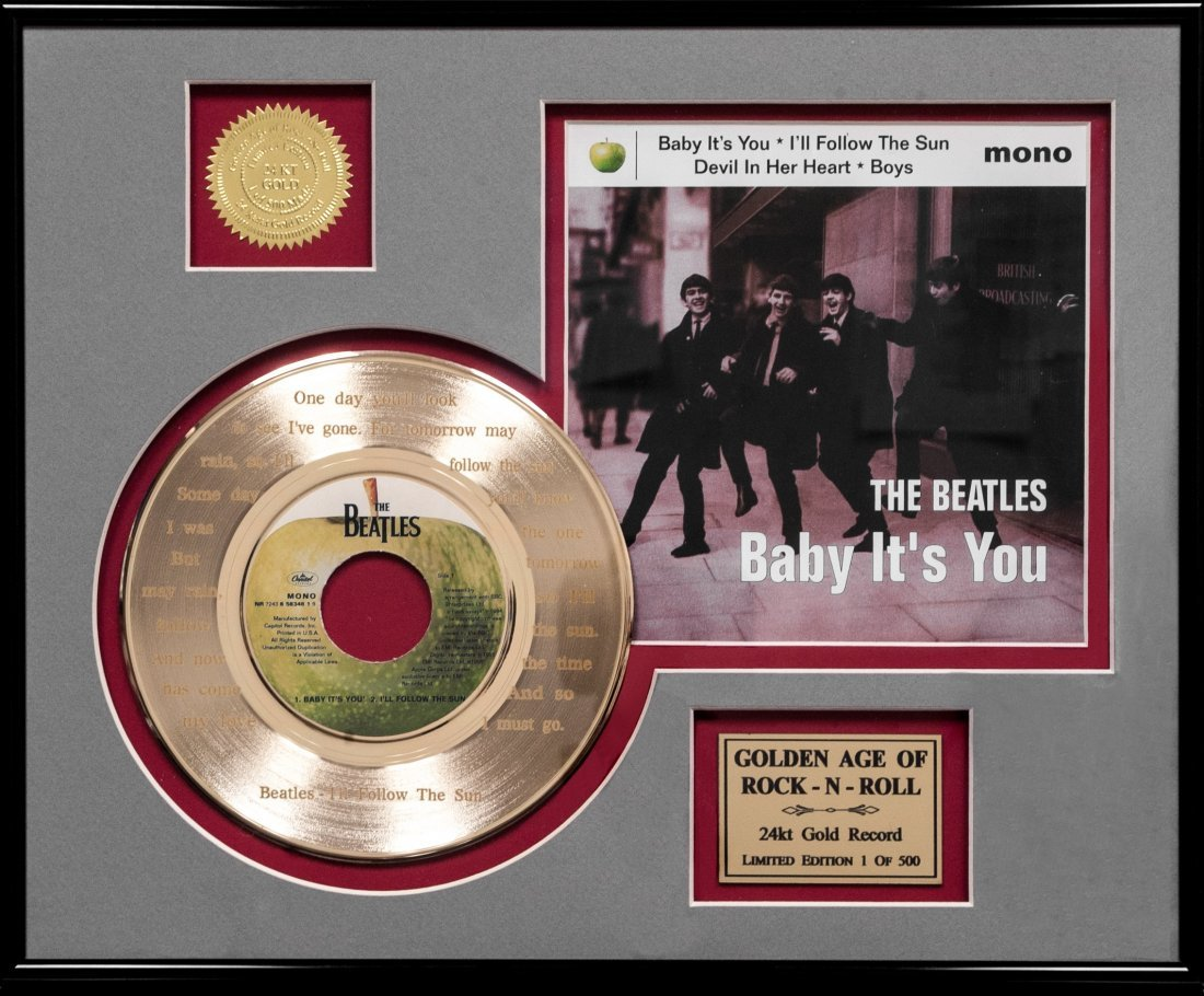 The Beatles 24K Gold Record (FRAMED) W750