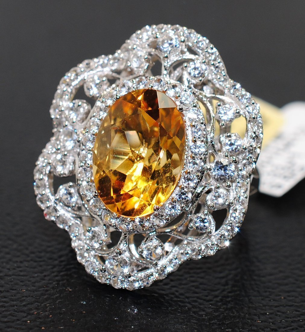 8.48ctw Citrine & Sapphire Silver Ring