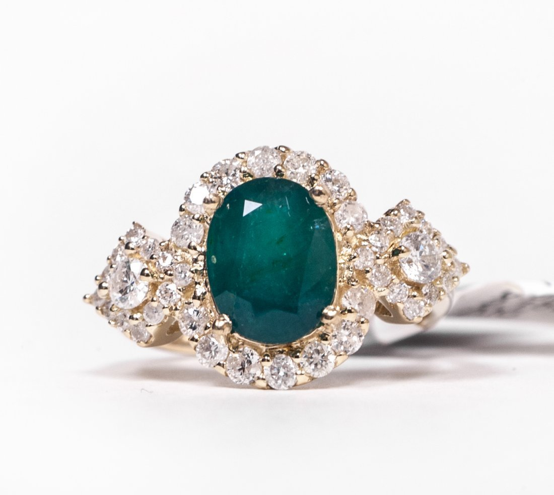 14KT YellowGold 2.15ct Emerald&Diamond Ring K28E98