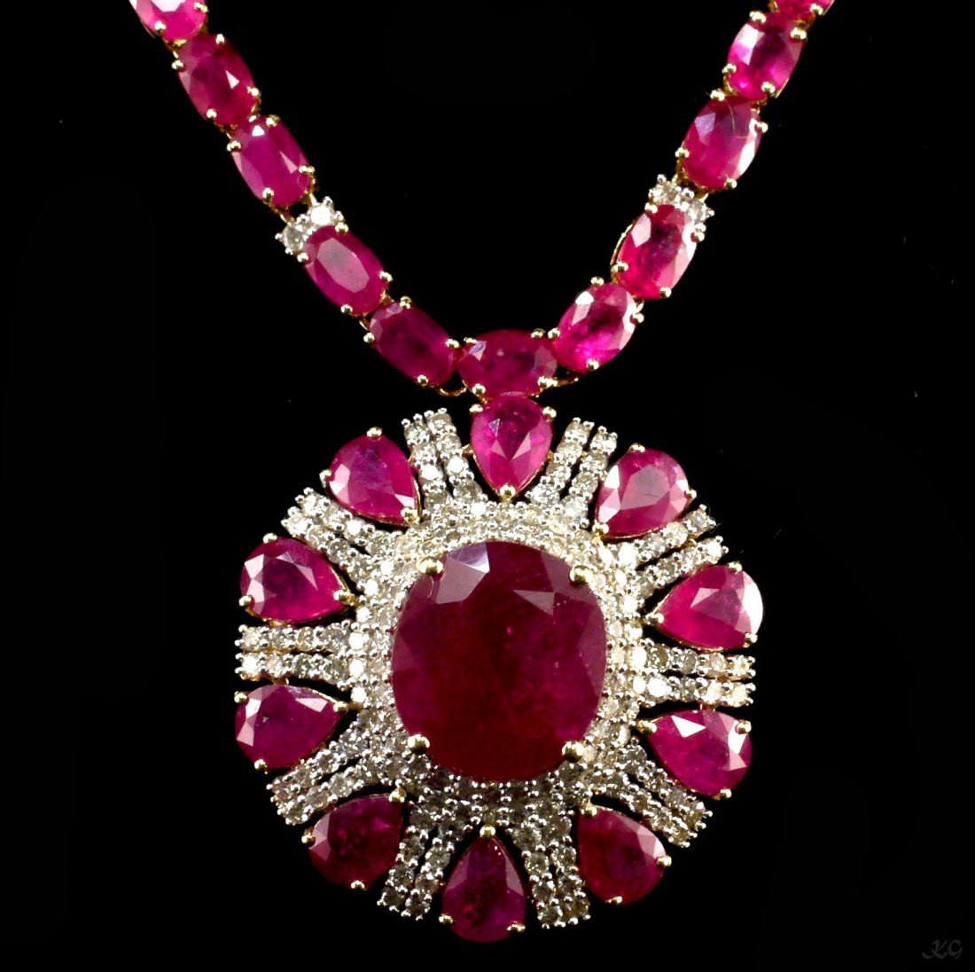 14kt YellowGold 63.18ctw Ruby&Diamond Necklace K99J98