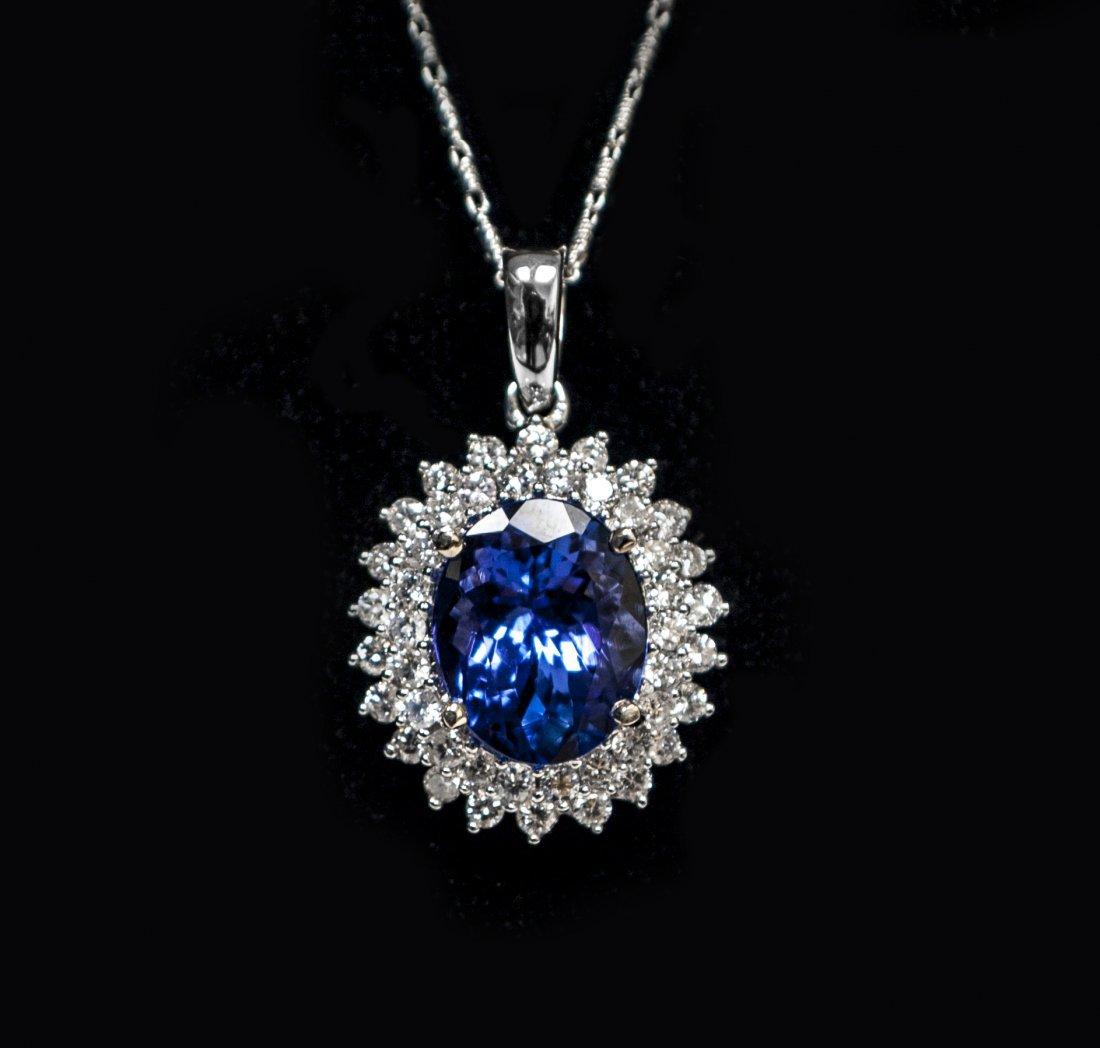 14KT WhiteGold 4.39ct Tanzanite&Diamond Pendant K39J95