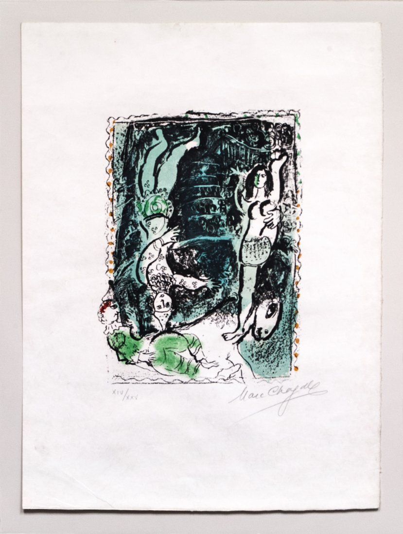 Marc Chagall Signed&Numbered Colored Lithograph W17395