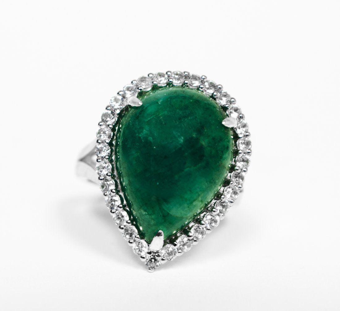 13.30ct Beryl & Sapphire Silver Ring K16J1