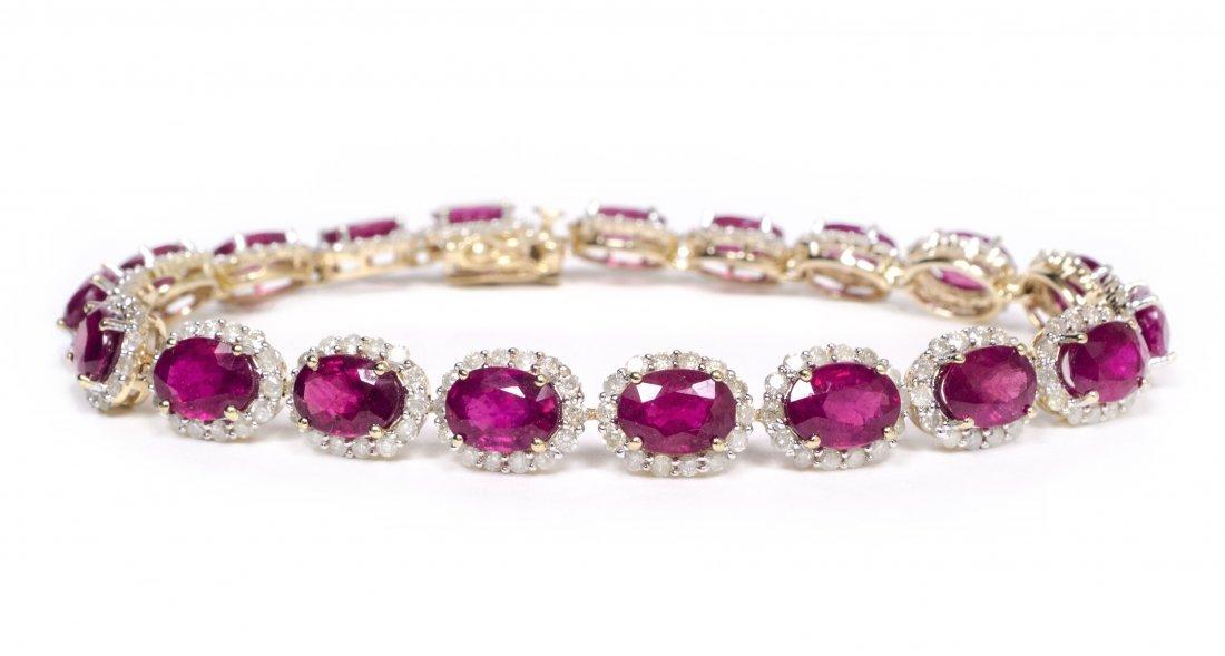 14kt YellowGold 20.61ctw Ruby&Diamond Bracelet K41J12