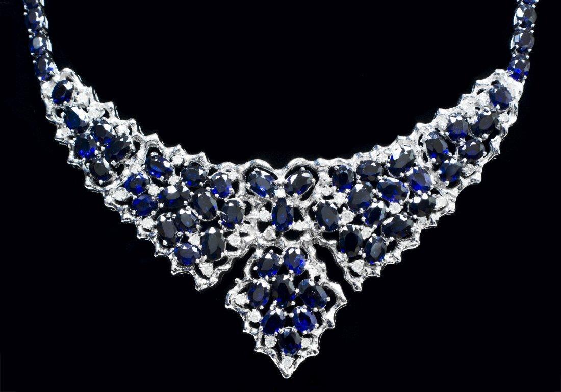 14kt WhiteGold 42.98ctw Sapphire&Diamond Necklace