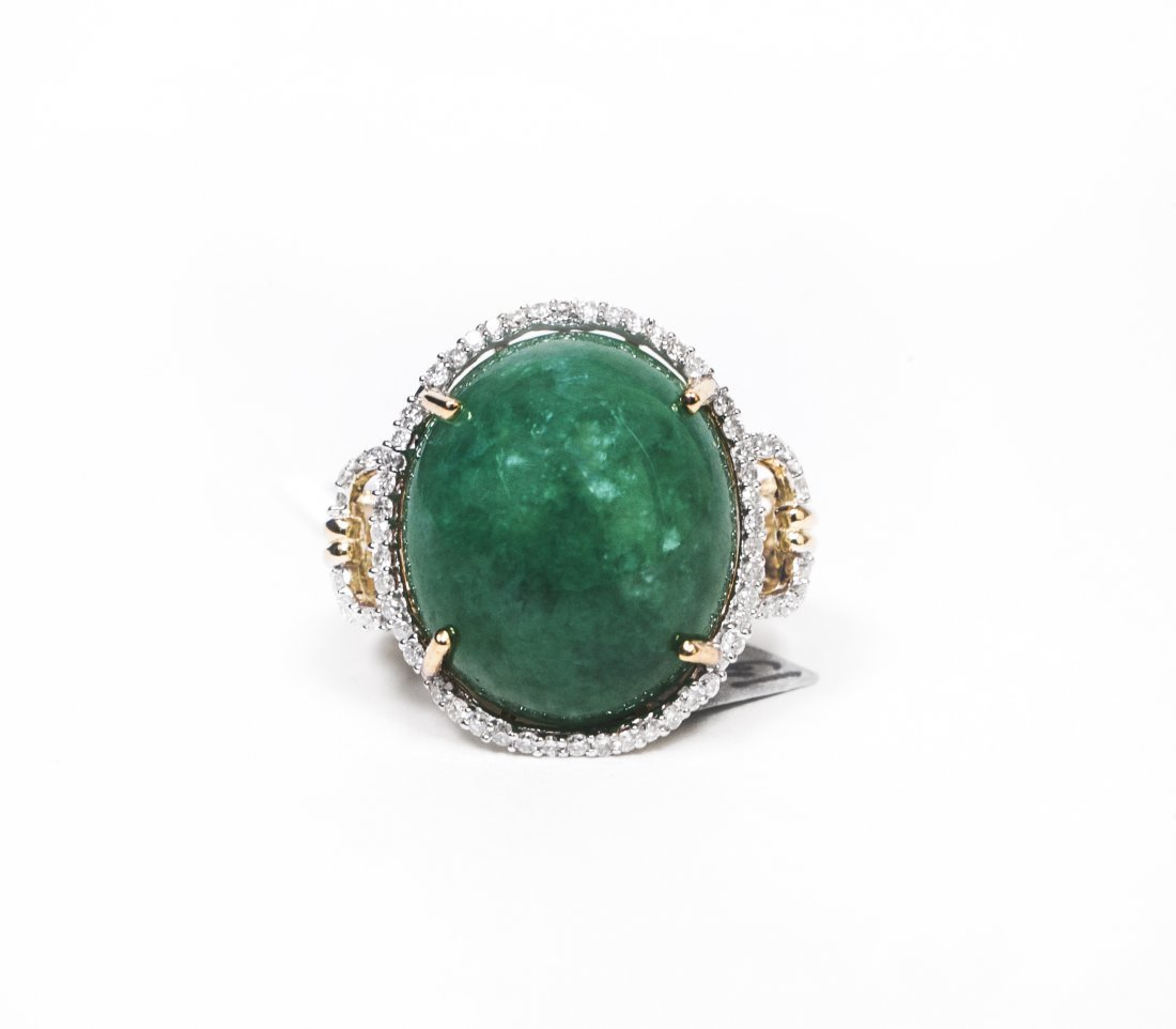 14kt YellowGold 13.79ct Jadeite&Diamond Ring K12J89