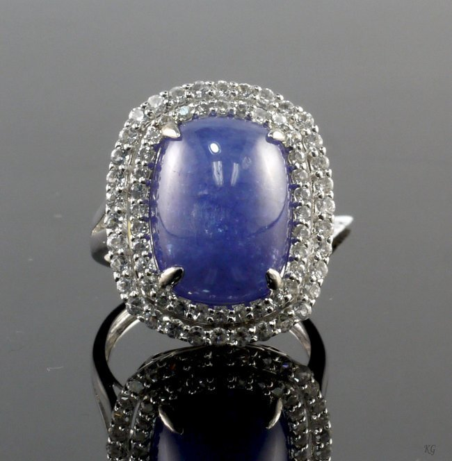 13.77ct Tanzanite & Sapphire Silver Ring K42J8