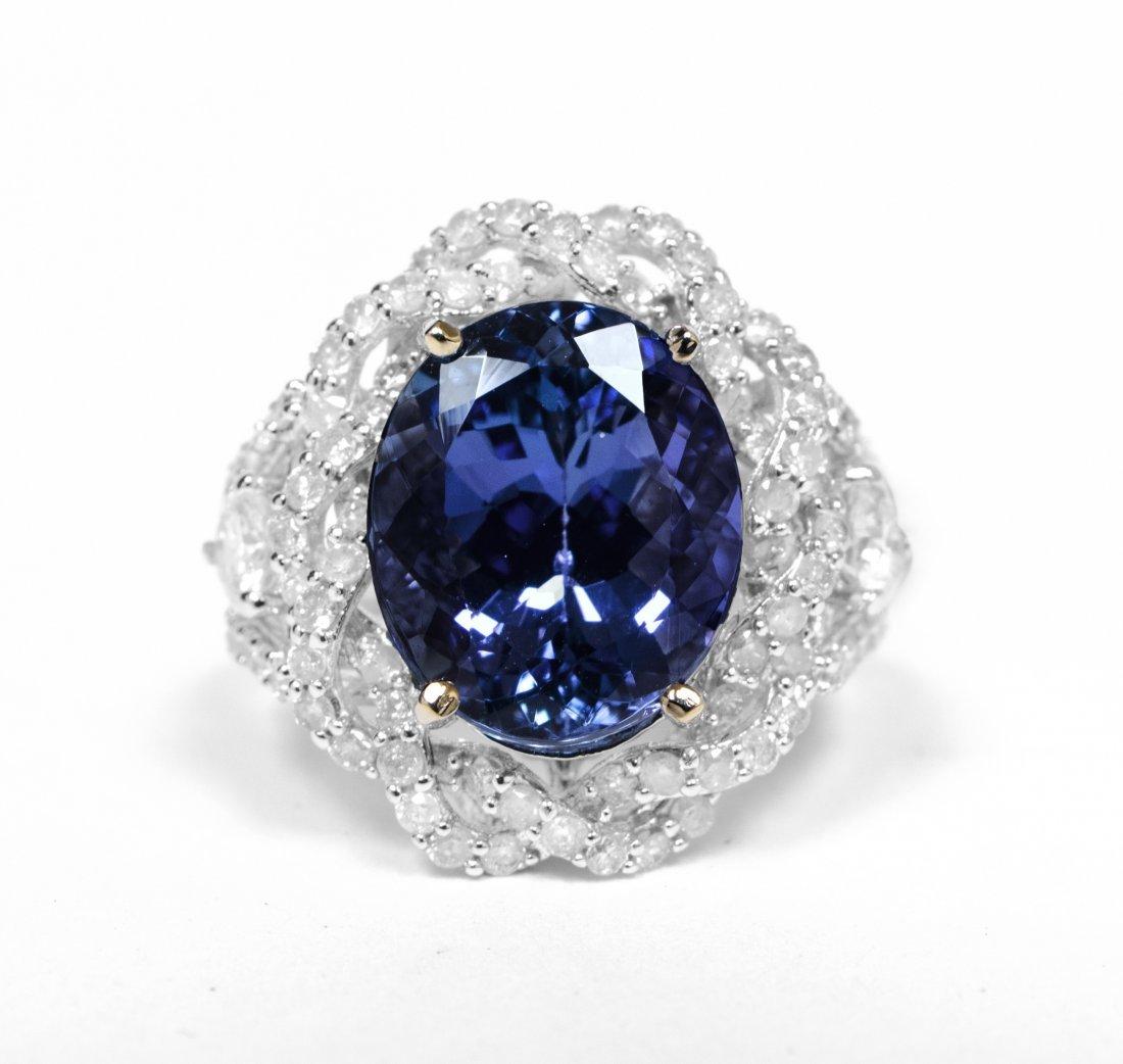 14kt WhiteGold 6.31ct Tanzanite&Diamond Ring K33J93