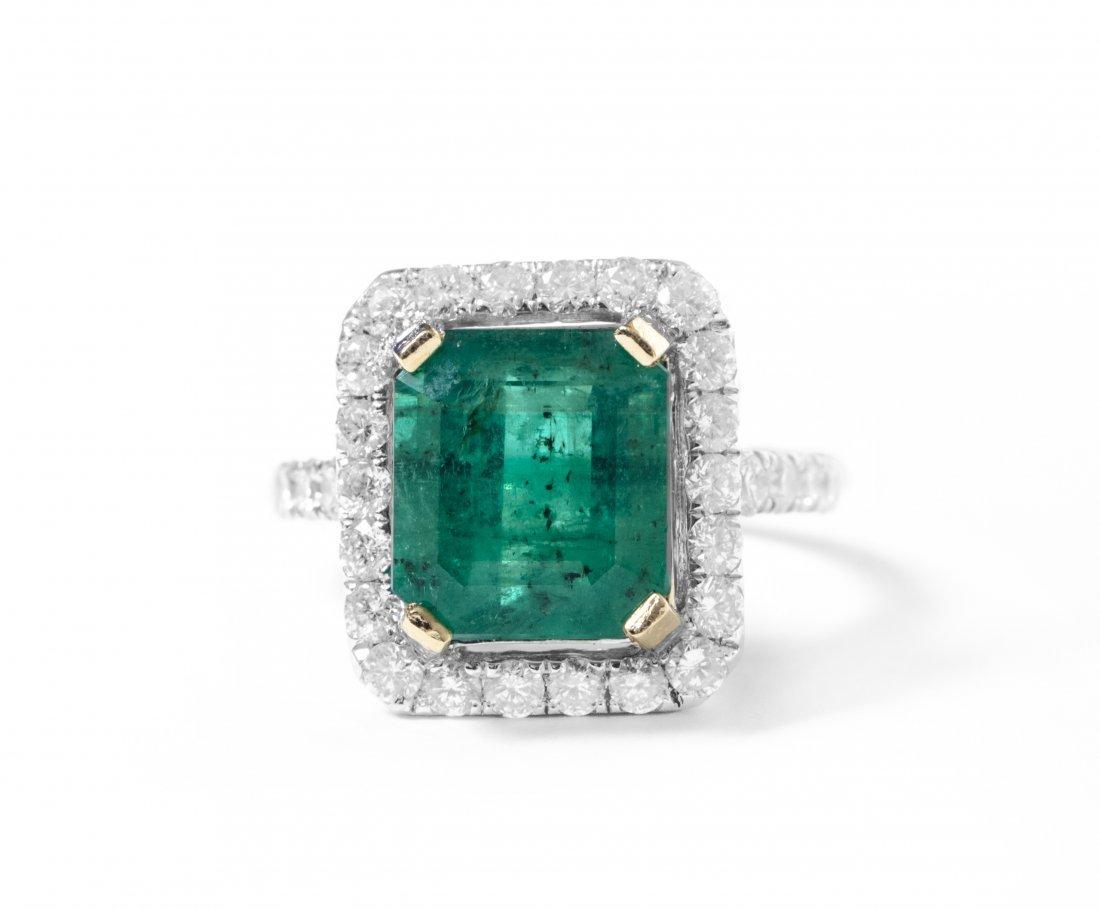 14K YellowGold 4.61ct Emerald&Diamond Ring K44E16