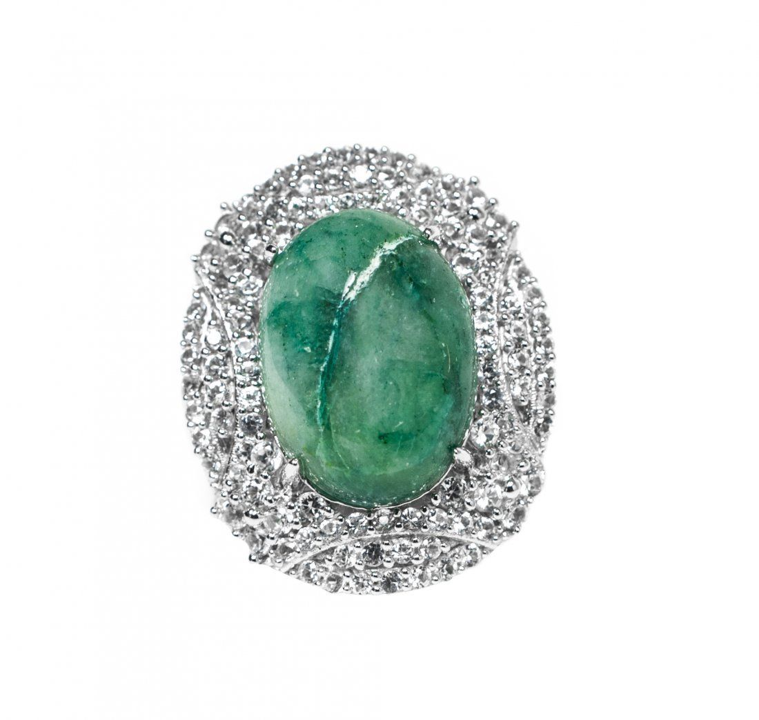 12.40ct Green Beryl & Sapphire Silver Ring K27J6