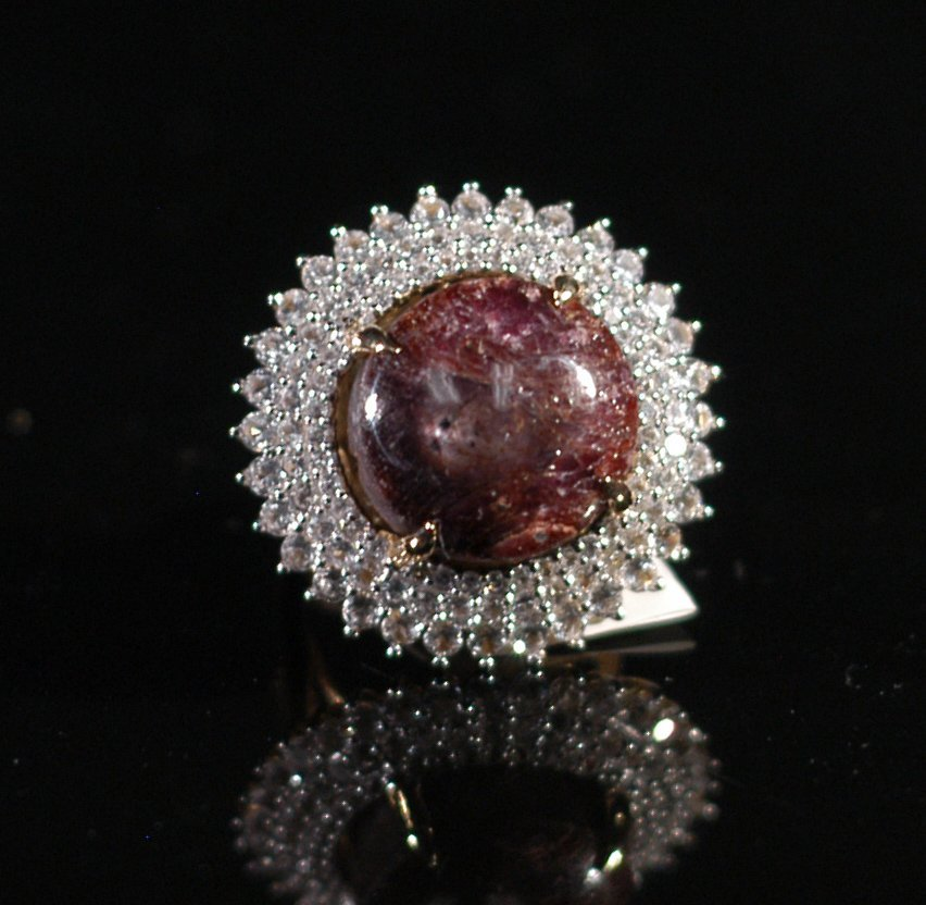 24.20 Colored Stones Star Ruby and White Sapphire Ring