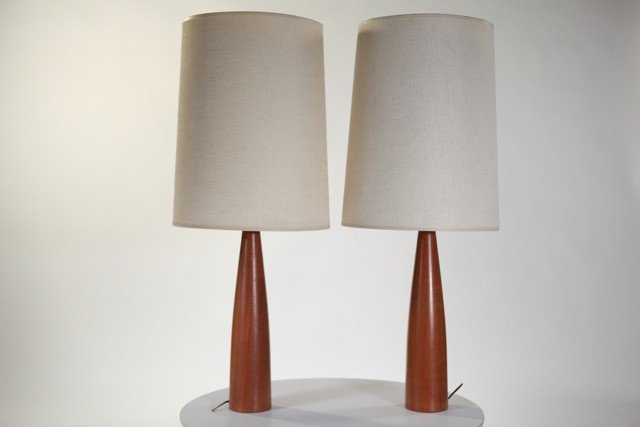 15A: Anonymous - Table Lamps 2pc w/ original linen shad
