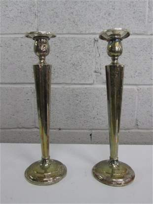 Pair Weighted Sterling Candle Holders. Some scratch