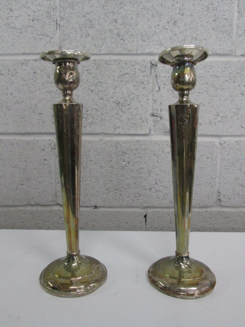 2: Pair Weighted Sterling Candle Holders.  Some scratch