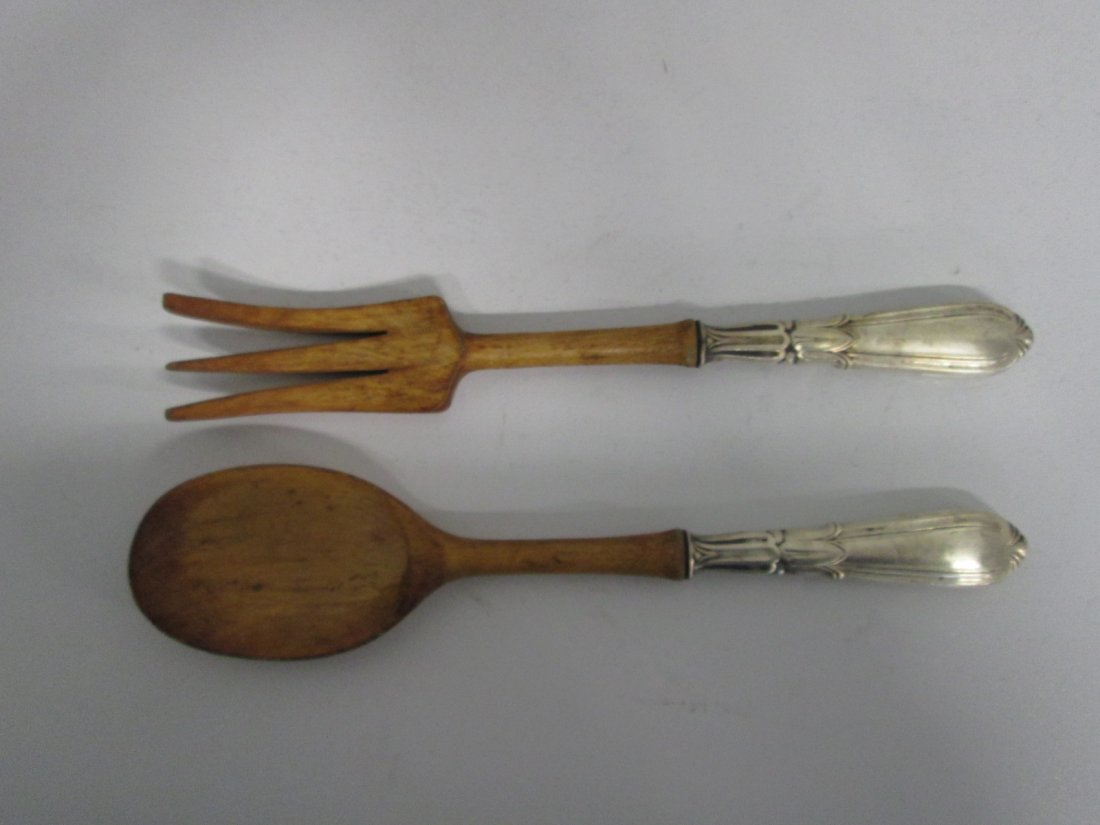 7: Sterling Serving Fork & Spoon Set with Wood Handle.