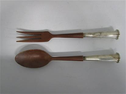 Sterling Serving Fork & Spoon Set with Wood Handle.