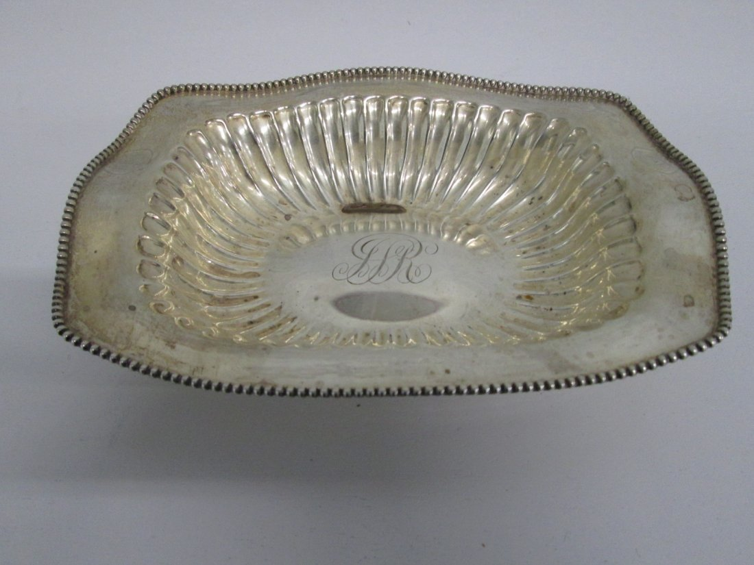 10: Small Sterling Dish with Engraved Initials.  Slight