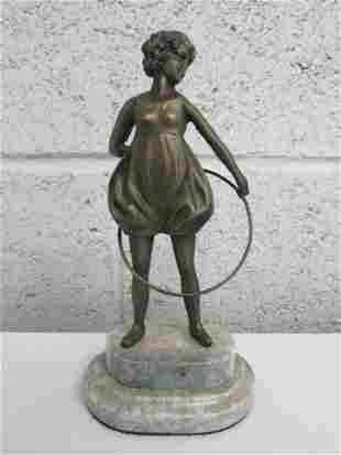 Art Nouveau Style Woman Statue on Marble Base. Pos