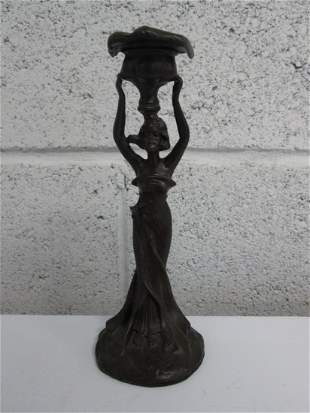 Art Nouveau Style Woman Candle Holder. Possibly br