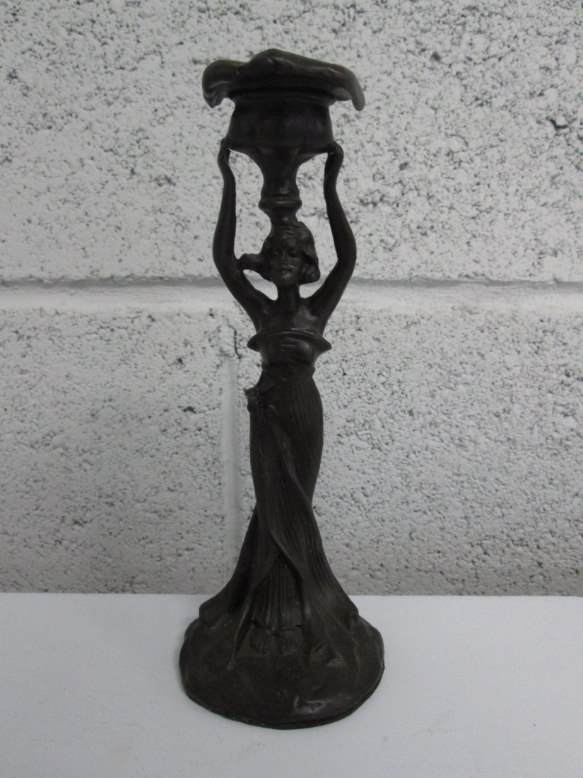 15: Art Nouveau Style Woman Candle Holder.  Possibly br